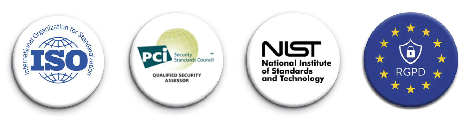 Logos certificaciones, ISO, PCI Qualified Security Assesor, NIST, RGPD