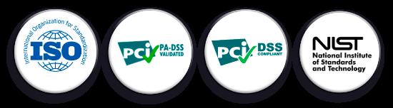 Logos certificaciones, ISO, PCI Qualified Security Assesor, NIST, RGPD